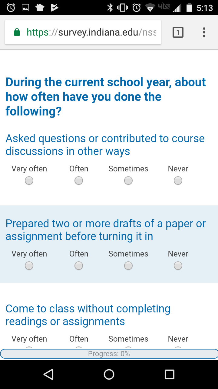 The mobile version of the NSSE survey